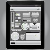 Web y elementos del interfaz y PC móviles de la tablilla Imágenes de archivo libres de regalías