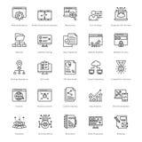 Web y SEO Line Vector Icons 28 Imágenes de archivo libres de regalías