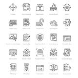 Web y SEO Line Vector Icons 21 Imagen de archivo