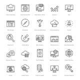 Web y SEO Line Vector Icons 18 Foto de archivo