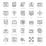 Web y SEO Line Vector Icons 49 Fotos de archivo libres de regalías
