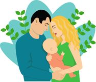 Young family with a small child royalty free illustration