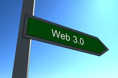 Web3.0. Close up web 3.0 green sign blue sky background Royalty Free Stock Photography