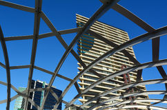 Webb Bridge - Melbourne. MELBOURNE,AUS - APR 14 2014:Webb Bridge against towers of Yarra's Edge at Docklands in Melbourne, Australia.It's a residential precinct Stock Images