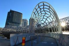 Webb Bridge - Melbourne. Sunset over Webb Bridge at Melbourne Docklands in Melbourne, Australia Royalty Free Stock Photo