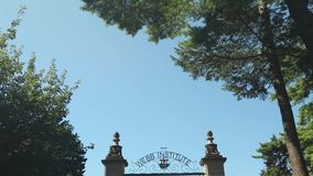 Webb Institute gated entrance (1 of 2). A view or scene of Education stock footage