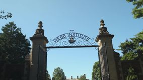 Webb Institute gated entrance (2 of 2). A view or scene of Education stock video footage