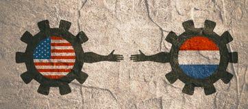 Webbanner, het Malplaatje van de Kopballay-out Politiek, economisch verband tussen de V.S. en Nederland Royalty-vrije Stock Afbeeldingen