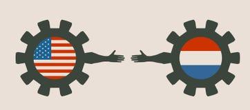 Webbanner, het Malplaatje van de Kopballay-out Politiek en economisch verband tussen de V.S. en Nederland Royalty-vrije Stock Afbeelding