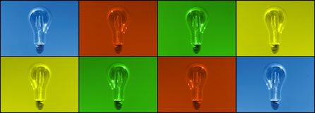 Webbanner with lightbulbs in different colours, phtography as shown when you focus. stock photo