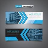 Webbanner met abstract vectorontwerp, blauwe kleuren Royalty-vrije Stock Fotografie
