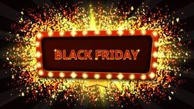 Webbanner met gloeiende lampen voor Zwarte vrijdag Royalty-vrije Stock Afbeelding