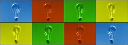 Webbanner met lightbulbs in verschillende kleuren, phtography zoals getoond wanneer u zich concentreert stock foto