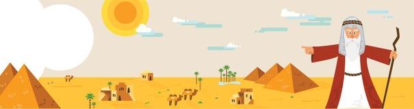Webbanner met Mozes van Paschaverhaal en het landschap van Egypte abstracte ontwerp vectorillustratie Royalty-vrije Stock Afbeeldingen