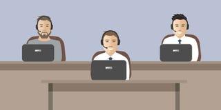 Webbanner van call centrearbeiders vector illustratie