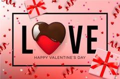 Webbanner voor de Dag van Valentine ` s Hoogste mening over samenstelling met chocoladehart, giftdoos, confettien en wimpels, vec vector illustratie