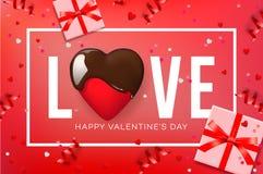 Webbanner voor de Dag van Valentine ` s Hoogste mening over samenstelling met chocoladehart, giftdoos, confettien en wimpels, vec royalty-vrije illustratie