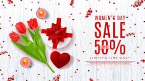 Webbanner voor de verkoop van de Vrouwen` s Dag Stock Foto's