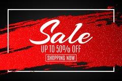 Webbanner voor verkoop De rode grungelijn met schittert in kader Zwarte achtergrond Grote kortingen Speciale aanbieding Achtergro Royalty-vrije Stock Afbeelding