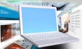 webbläsare fast bärbar datorwhite Arkivfoton