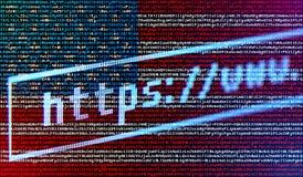 Webbläsareadressstång https://www mot USA flaggan fotografering för bildbyråer