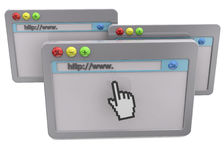 Webbläsarebegrepp - 3D Arkivfoton
