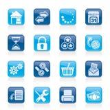 Webbplats- och internetsymboler Arkivbilder