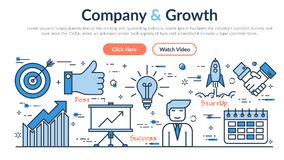 Webbplatstitelrad - företag och tillväxt royaltyfri illustrationer