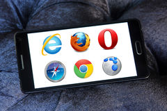 Webbrowsers pictogrammen en emblemen Stock Afbeelding
