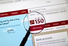 Webbsida av den kanadensiska banken CIBC Royaltyfri Bild