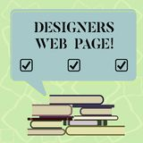 Webbsida för formgivare för ordhandstiltext Affärsidé för någon som förbereder innehållet för ojämn hög för Websitessidor royaltyfri illustrationer