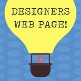 Webbsida för formgivare för ordhandstiltext Affärsidé för någon som förbereder innehållet för WebsitessidaHu analys royaltyfri illustrationer