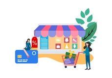 Webbsidadesignmallar för online-shopping stock illustrationer