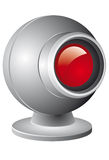 Webcam. Illustration with red lens isolated on white background vector illustration