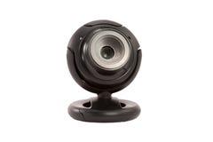 Webcam nero su una priorità bassa bianca Immagine Stock