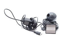 Webcam with Power Plug and Card Medium Royalty Free Stock Photo