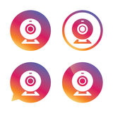 Webcam sign icon. Web video chat symbol. Camera chat. Gradient buttons with flat icon. Speech bubble sign. Vector royalty free illustration