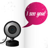 Webcam with text I see you Stock Photo