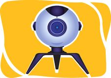Webcam on yellow  background Stock Photos