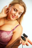 Προκλητική γυναίκα με το webcamera Στοκ Φωτογραφία