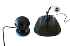 Webcamera and computer microphone. Black coloured. On isolated background stock photos