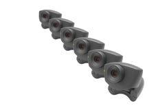 Webcames en una fila imágenes de archivo libres de regalías