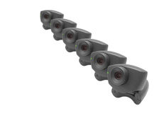 Webcams in een rij Royalty-vrije Stock Afbeeldingen