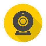 Webcamteckensymbol med lång skugga Royaltyfria Foton