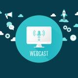 Webcast o Live Stream Illustration Computer con l'icona del microfono circondata dalle icone di comunicazione e di tecnologia Immagini Stock