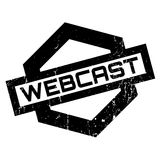 Webcast rubber stamp. Grunge design with dust scratches. Effects can be easily removed for a clean, crisp look. Color is easily changed Royalty Free Stock Photography