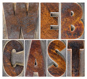 Webcast word  in letterpress blocks Stock Photography