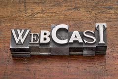 Webcast word in metal type Royalty Free Stock Images