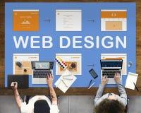 Webdesign-Arbeits-Website-Entwicklungs-Konzept Stockfotografie
