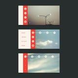 Webdesign-Elemente: Minimales Titel-Design mit unscharfem Hintergrund und Ikonen Stockfotografie